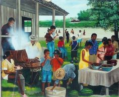 Artistic Images of African American Family Reunion The family is of the utmost importance to the Black Southern Belle. From Sunday dinner to church gatherings, we are always thinking of our family first. As summer comes to a close, we want to… Black Art Painting, Black Artwork, Black Love Art, Black Girl Art, African American Artwork, African Art, Ousmane Sow, Arte Black, Black Art Pictures