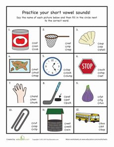 This short vowel worksheet gets your child to insert the missing short vowel! Try this short vowel worksheet with your kindergartener. Vowel Worksheets, Short Vowel Sounds, Kindergarten Centers, Phonological Awareness, Short Vowels, Reading Lessons, Language Activities, Letter Sounds, Speech And Language