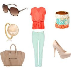 Mint denim + Coral top + nude pumps