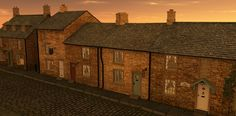 Build a Street English Country Village at sunset rendered in 3Delight in DAZ Studio 4.9