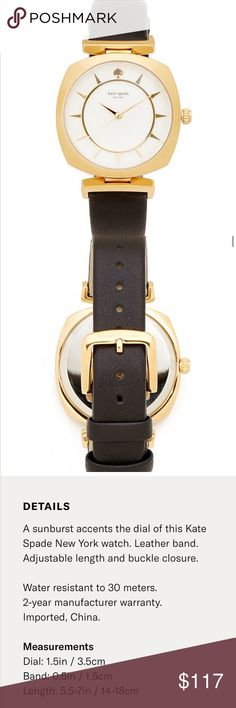 Kate Spade Barrow Black Gold Leather Strap Watch New with tags in box Kate Spade Barrow Black Gold Leather Strap Watch. Such a beautiful watch! Check out my closet for bundles! kate spade Accessories Watches