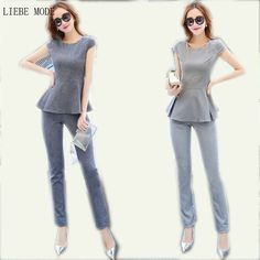 Luxury Designer Office Ladies Top and Pants Plus Size 3XL 4XL Two Piece Set Gray Linen Formal Office Work Trousers Suits XXXL