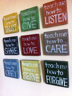 """Inspirational Art  """"Teach Me"""" Wood Blocks -  by Tiffany Rachal via Etsy.  colors available: kelly green, forest green, ocean blue, navy blue, fire truck red, lemon yellow, mustard yellow, taupe, pumpkin orange on pine wood w/ white lettering"""