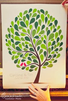Wedding Guest Book Tree - The Spotwik - A Peachwik Personalized Print - 125 guest sign in - Confetti Dots Wedding Tree Guestbook Alternative via Etsy