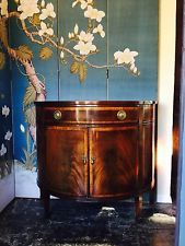 Demi-Lune Mahogany  console cabinet vintage / Hollywood Regency