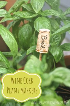 Wine Cork Plant Markers via The Happier Homemaker