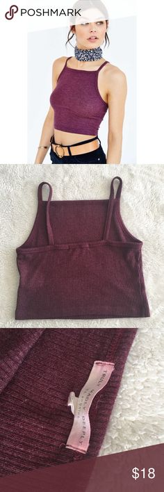 """❗️LAST CHANCE❗️UO Truly Madly Deeply Square Cami Square neck cropped cami from """"Truly Madly Deeply"""" for Urban Outfitters. On trend and a cute burgundy color! Wearing it in my profile picture (I am a size small was too loose on me) Polyester , rayon, spandex mix.  (Blue color shows what the back will look like) No trades, please. Urban Outfitters Tops Tank Tops"""