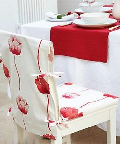 Sew simple slip covers for your dining chairs :: allaboutyou.comu ...maybe make with PUL for the seats?