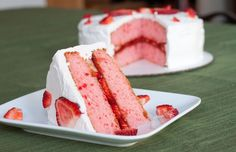 Strawberry Cake and Cream Cheese Frosting Recipe by So Very Blessed. Where all of Grandmother's favorite recipes are found, just like Grandmother makes them, with a little love. Just Desserts, Delicious Desserts, Dessert Recipes, Yummy Food, Food Cakes, Cupcake Cakes, Strawberry Cake Recipes, Strawberry Filling, Strawberry Shortcake