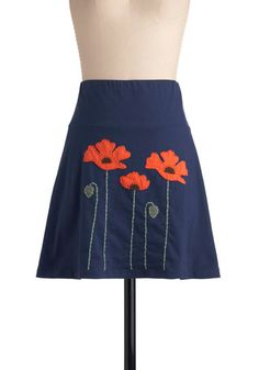 Planting Poppies Skirt - Short, Blue, Floral, Casual, Orange, Green, Embroidery, A-line, Mini, Eco-Friendly, Summer