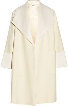 Adam Lippes Satin-trimmed wool-blend coat