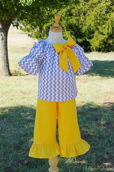 Chevron Peasant Set with ruffle pants by havilahashby, $40.00 (patterns from Whimsy Couture)