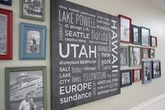 "vacation wall - great idea!  label each photo with ""location 