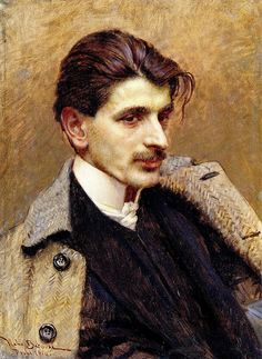 Portrait by Vlaho Bukovac. Always like herringbone in anything - suits, jackets, trousers, and as here, coats.