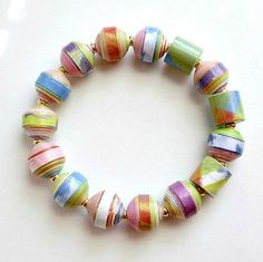 Colorful Watercolor Print PAPER BEAD Bracelet ♥ by itsmolly on Etsy, $18.00