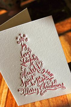 Christmas Cards Letterpress set of 50 bulk Holiday Tree.