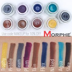 """A D R I A N A on Instagram: """"✨Swatches✨ @morphebrushes Gel Liners Currently on sale for $2.99!!! Except for Slate that is at original price $8.99 Use code MAKEUP for 10% OFF Morphe Products in store or online """""""
