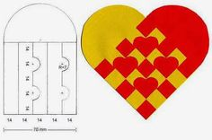 Braiding traditional Scandinavian Christmas hearts can be as simple as braiding two times two loops of paper into each other. (found at fest-tips.dk) Or you can make it a bit more complicated a… Swedish Christmas, Christmas Hearts, Scandinavian Christmas, Christmas Origami, Christmas Paper, Valentines Day Activities, Valentine Crafts, Paper Flower Art, Heart Template