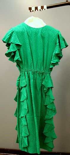 Green Mother Of The Bride's Dress With Matching Belt. Circa 1980s. Missouri History Museum. collections.mohistory.org. #vintagewedding #1980sstyle #1980swedding