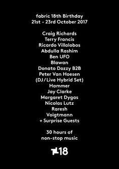 #housemusic fabric 18th Birthday Update - New Line Up Announcement: It gives us a huge amount of pleasure to be able to release the final…