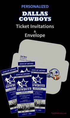 3. Invitation  #EsuranceFantasyTailgate Personalized Dallas Cowboys Ticket Invites & Envelope by PartyPrintz.etsy.com