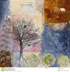 Mixed Media Painting With Trees And Leaves Royalty Free Stock Photos - Image: 16584658