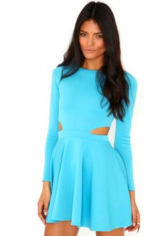 Long Sleeved Cut Out Skater Dress