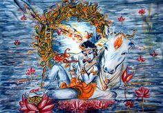 Sweet Krishna Flute Original painting Love Cow by sadashivarts