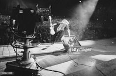 Guitarist Ritchie Blackmore performing in front of a TV camera during Deep Purple's performance at the California Jam rock festival, Ontario Motor Speedway, Ontario, California, 6th April 1974. Parts of the festival are being broadcast live on the ABC TV network.