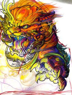 Foo Dog Tattoo Design, Japan Tattoo Design, Sketch Tattoo Design, Tattoo Sketches, Asian Dragon Tattoo, Japanese Dragon Tattoos, Japanese Tattoo Art, Asian Tattoo Sleeve, Tattoo Sleeve Designs