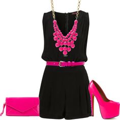 Black jumpsuit with Hot Pink accents