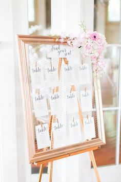 Escort card display. Gold frame escort card. Photo by Cassi Claire #therylandinn