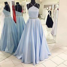 light blue prom dress, long prom dress, A-line prom dress, cheap evening dress, simple prom dress, BD374