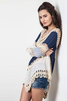 6f3cc2fee0b4 Long Sleeve Knit Splice Irregular Hem Blouse Swimwear Cover Up. Bohemian  StyleBoho ...