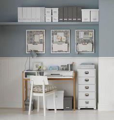 sun room redesign.  wainscoting, high shelf.  understated work/craft space.