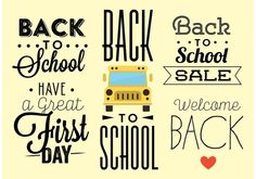 Back to School Typography Vectors . Choose from thousands of free vectors, clip art designs, icons, and illustrations created by artists worldwide! First Day School, Back To School, Typography, Lettering, Art Images, Vector Art, Clip Art, Templates, Vectors