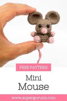 Crochet Animal Patterns, Crochet Patterns Amigurumi, Crochet Animals, Crochet Dolls, Mini Amigurumi, Crochet Mouse, Cute Crochet, Crochet Crafts, Crochet Projects