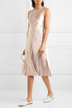 Calvin Klein Collection - Lamica Tulle-trimmed Silk-satin Dress - Blush - IT42