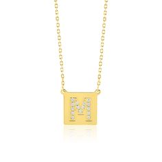 Made Simply Boutique's Square Necklace in Yellow Gold, Letter M