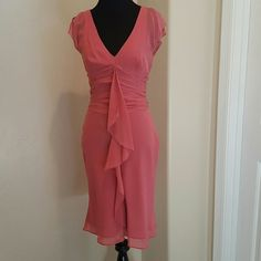 BCBG MAX AZRIA pink silk dress sz 0 Beautiful Spring summer dress 100% silk, fully lined Soft butterfly sleeves Front ruffle Elegant ❌NO LOWBALL OFFERS ❌ NO NEGOTIATING OVER COMMENT, USE OFFER BUTTON ❌ NO TRADES  Item #03240200 BCBGMaxAzria Dresses Midi