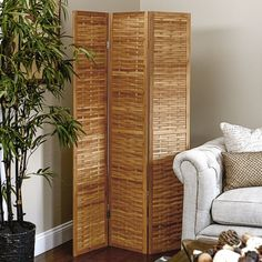 Household Essentials Folding Bamboo Screen 3 Panel Room Divider is a beautiful, stylish tri-fold dressing screen that opens and closes like an accordion. Its 3 doors attach to one another, creating a charming decorative privacy screen for your home. The 3 panels attach to each other by sturdy hinges that allow the screen to be opened and closed--and tailored to your space. The accordion fold allows the screen to fit a variety of spaces, from the a doorway to the corner of a bedroom, creating…