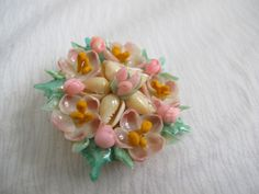 Sea shell flower brooch / Vintage pink and green shell brooch - pinned by pin4etsy.com