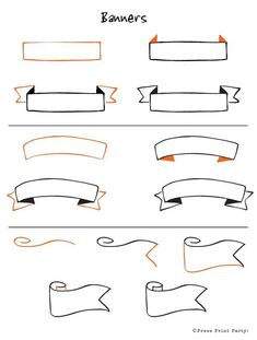 Step by step how to instructions on 12 clever and fun doodles. Be creative and learn how to doodle efficiently for your Bullet Journal. to drawing banners 12 Doodles How To for Bullet Journals - Press Print Party Bullet Journal Headers, Bullet Journal Banner, My Journal, Bullet Journal Inspiration, Bullet Journals, Bullet Journal Ribbon, Bullet Journal To Print, Bible Journal, Art Journals