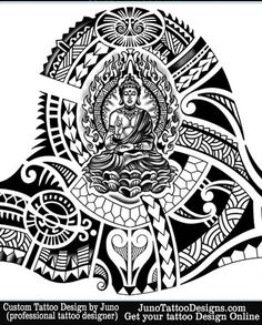 buddha tattoo for sleeve by JunoTattooDesigns - Custom tattoos online made to order - http://junotattoodesigns.com/