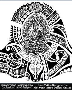 buddha tattoo for sleeve by JunoTattooDesigns - Custom tattoos online made to order - http://junotattoodesigns.com/