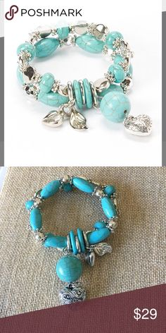 Blue Magnesite Charm Bracelet This jingle-worthy stretch bracelet features statement turquoise and lovely heart charms for arm- candy boasting. Versatile simple Chic  Magnesite-pewter-acrylic Jewelry Bracelets
