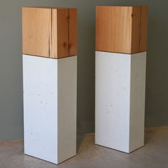 Bentall Column by Steven Pollock.  These sculptural columns of solid fir and silky concrete can be display pedestals or free-standing.  Available at Kozai Modern  $1,090
