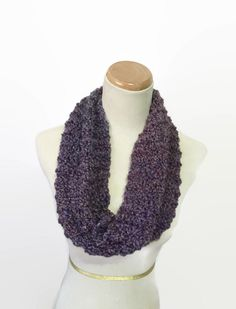 Purple Cowl Hand Knit Cowl Knit Scarf Cowl by ArlenesBoutique