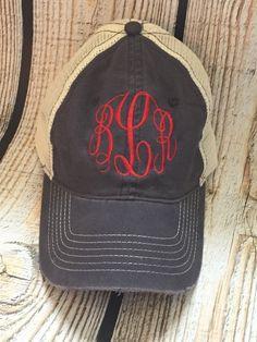 Distressed Monogram Trucker Hat monogram by MegsMonogramsandMore grey with cream thread