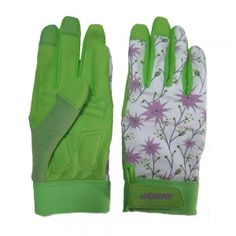 HY1504A -Synthetic Leather Garden Gloves Spandex Flower Printing Back